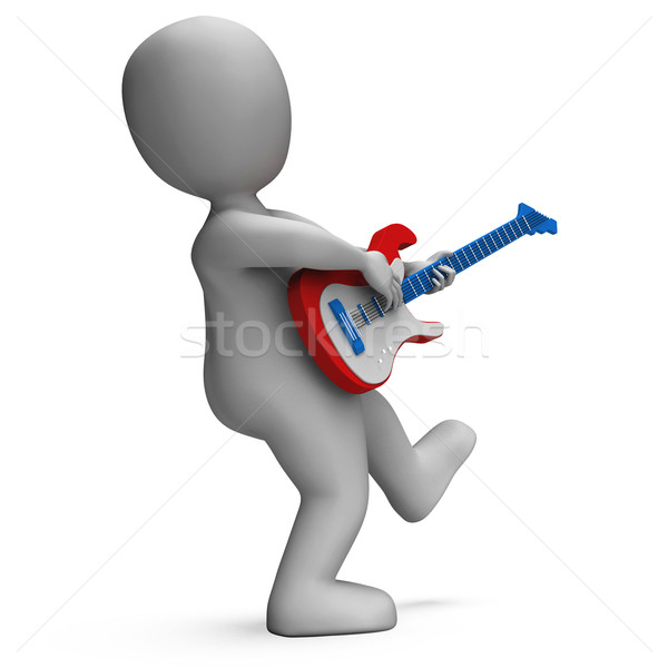 Guitarist Shows Rock Music Guitar Playing And Character Stock photo © stuartmiles