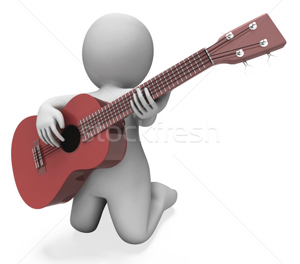 Gitarist karakter akustik gitar müzik performans Stok fotoğraf © stuartmiles
