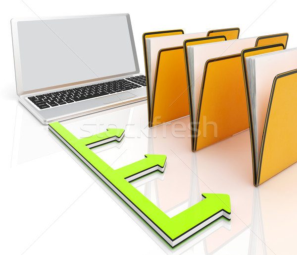 Laptop And Folders Shows Administration And Organized Stock photo © stuartmiles