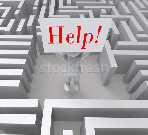 Segítség felirat elveszett labirintus vészhelyzet Stock fotó © stuartmiles