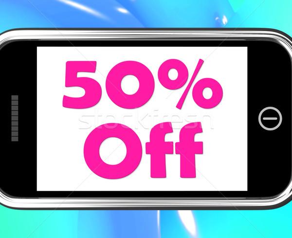 пятьдесят процент телефон продажи скидка 50 Сток-фото © stuartmiles