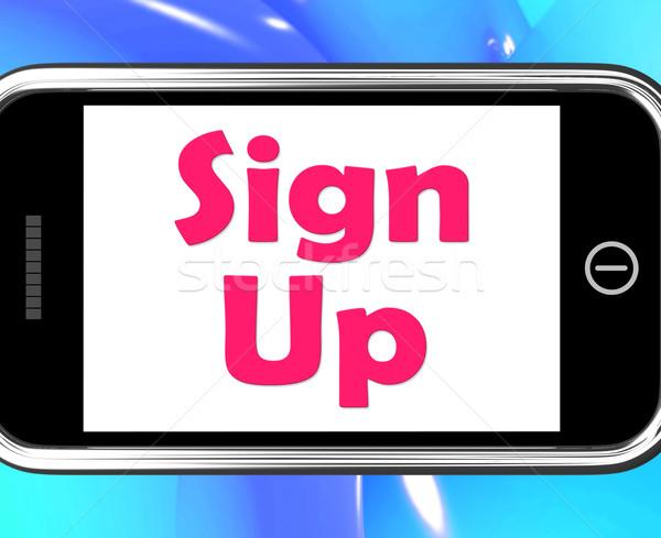 Signe up téléphone ligne web Photo stock © stuartmiles