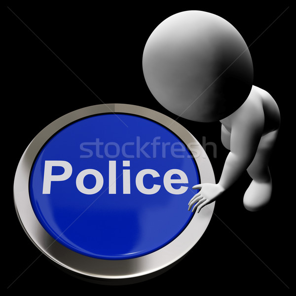 Police Button Shows Law Enforcement And Emergency Assistance Stock photo © stuartmiles
