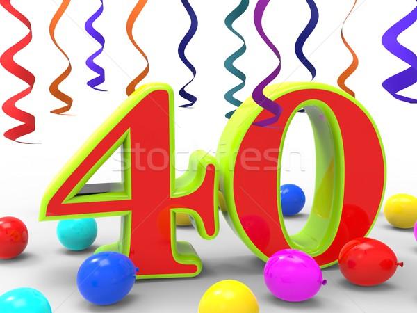 Stockfoto: Aantal · veertig · partij · verjaardagsfeest · viering · tonen