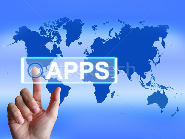 Apps Map Represents International and Worldwide Applications Stock photo © stuartmiles