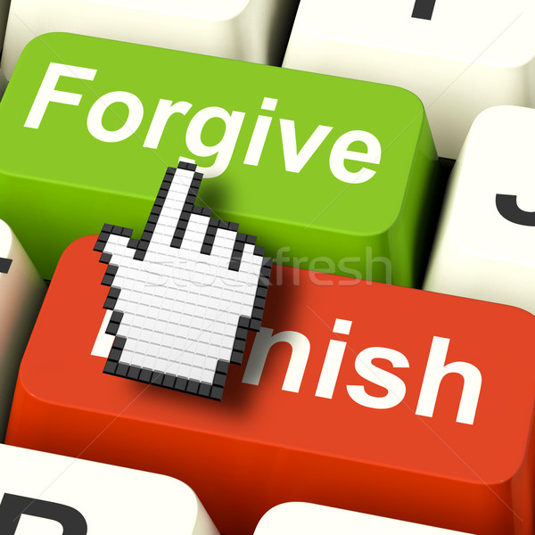 Punish Forgive Computer Shows Punishment or Forgiveness Stock photo © stuartmiles