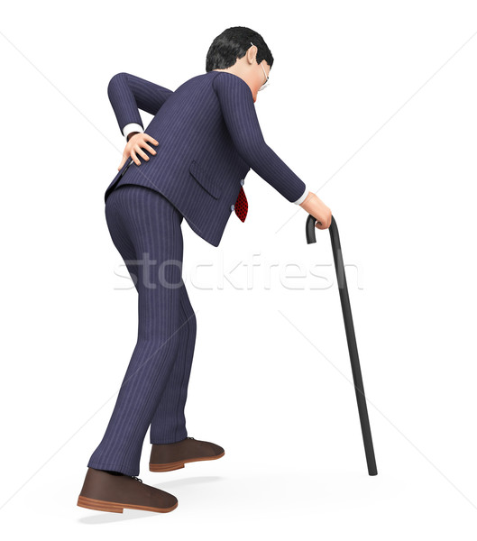 Stock photo: Man With Backache Shows Slipped Disk And Guy
