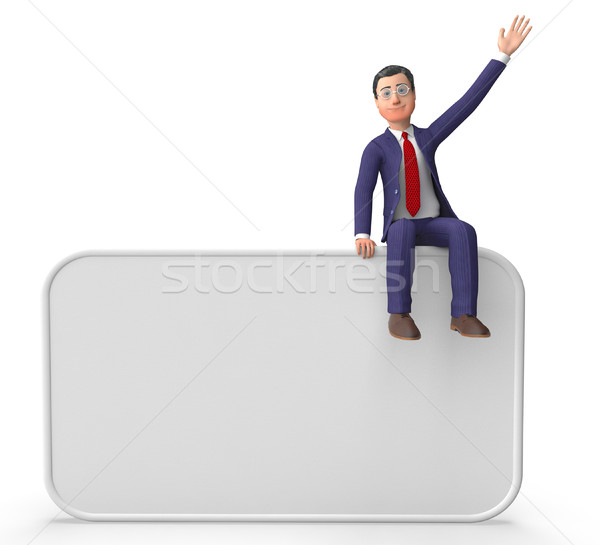 Businessman On Signboard Shows Blank Space And Announce Stock photo © stuartmiles