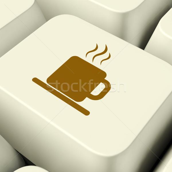 Kávésbögre ikon számítógép kulcs elvesz törik Stock fotó © stuartmiles