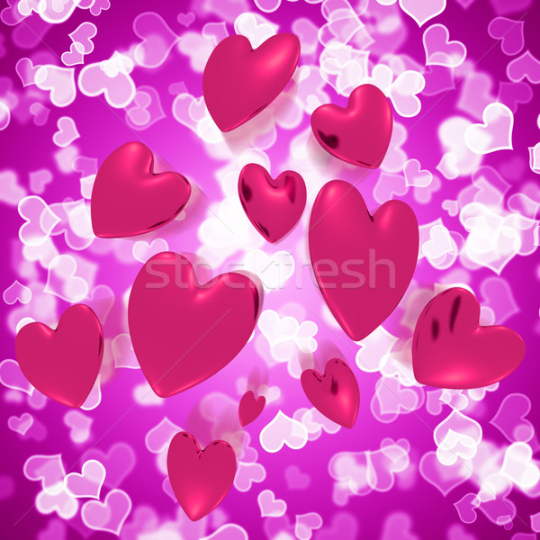 Hearts Falling With Mauve Bokeh Background Showing Love And Roma Stock photo © stuartmiles