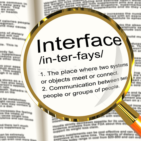 Foto stock: Interfaz · definición · lupa · control · conexión