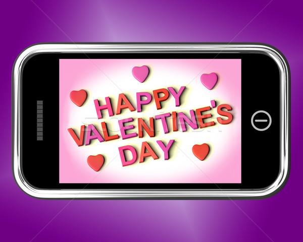 Felice san valentino messaggio mobile amore Foto d'archivio © stuartmiles