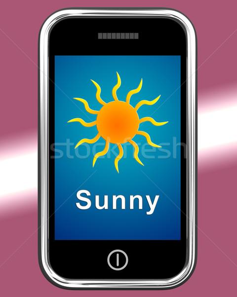 Mobiele telefoon zonnige weer prognose tonen internet Stockfoto © stuartmiles