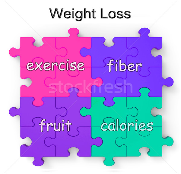 Weight Loss Puzzle Shows Exercise And Fiber Stock photo © stuartmiles