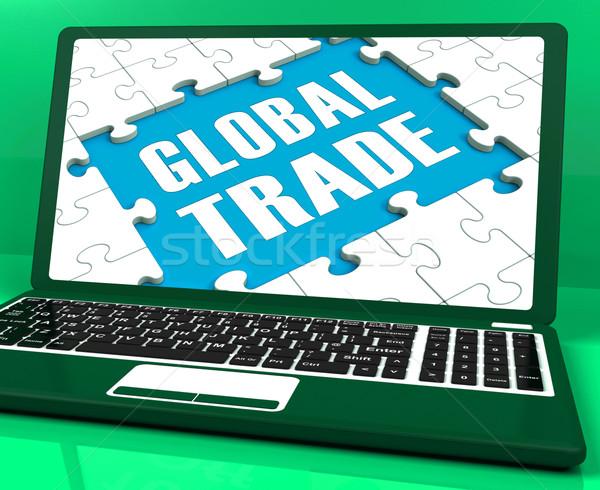 Globális kereskedelem laptop világszerte nemzetközi üzlet mutat Stock fotó © stuartmiles
