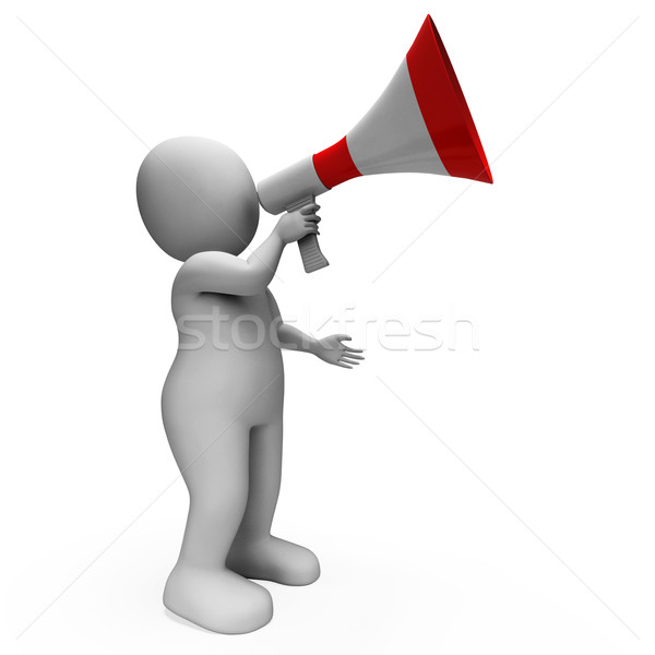 Megaphone Character Shows Announcements Proclaiming And Announci Stock photo © stuartmiles