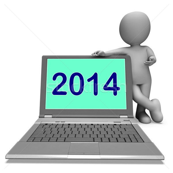 Two Thousand And Fourteen Character And Laptop Shows Year 2014 Stock photo © stuartmiles