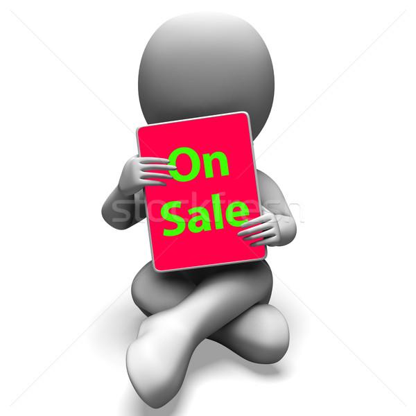 Vásár tabletta karakter promóciós megtakarított pénz mutat Stock fotó © stuartmiles