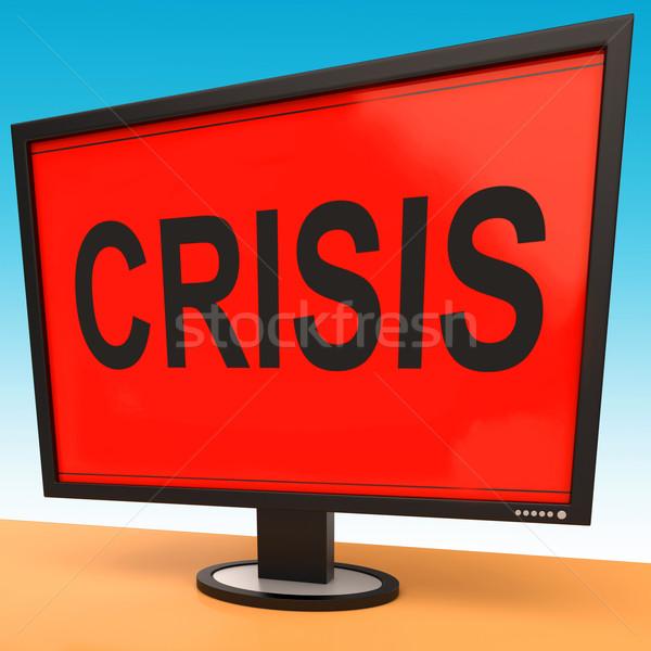 Crisis monitor moeite kritisch situatie betekenis Stockfoto © stuartmiles