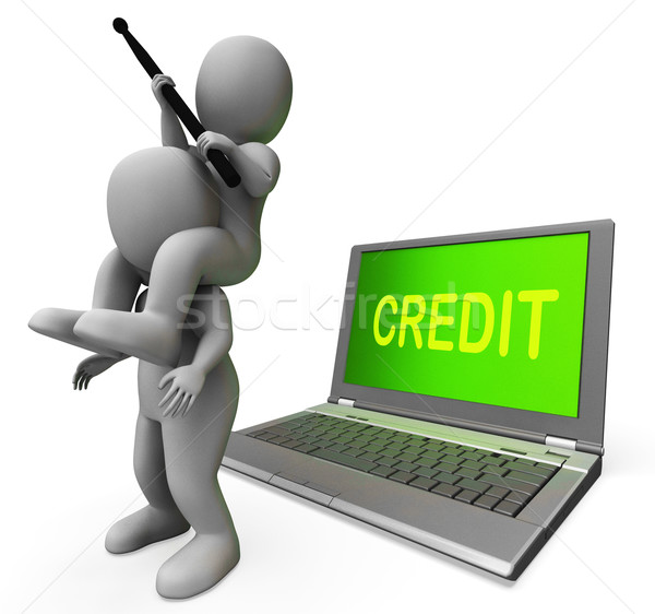 Credit Laptop Characters Show Borrowers Or Loans For Buying Stock photo © stuartmiles