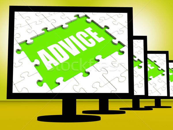Advice Screen Means Suggestions Advise Recommend Or Suggest Stock photo © stuartmiles