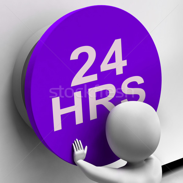 Twenty Four Hours Button Shows 24H  Availability Stock photo © stuartmiles