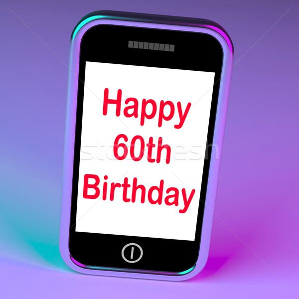Gelukkig verjaardag smartphone zestig jaren tonen Stockfoto © stuartmiles