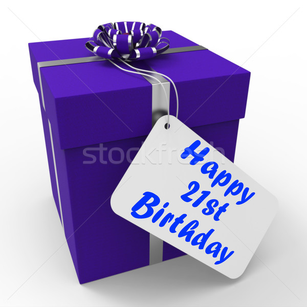 Happy 21st Birthday Gift Shows Celebrating Twenty-One Years Stock photo © stuartmiles