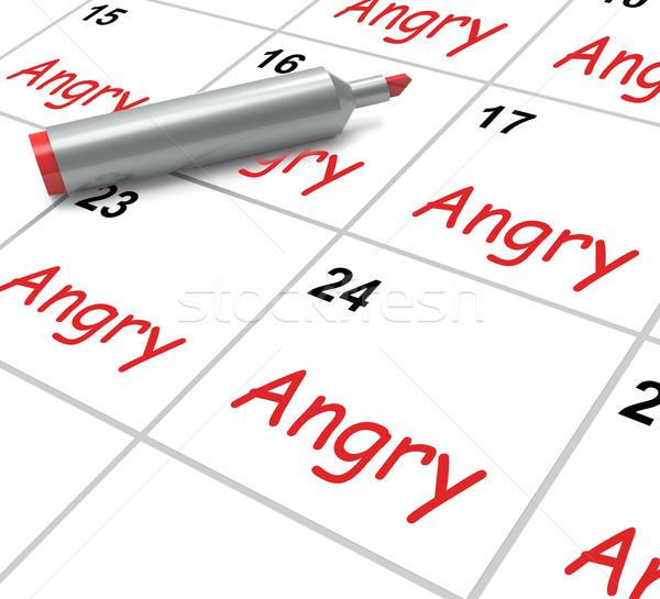 Zły kalendarza furia wściekłość znaczenie Zdjęcia stock © stuartmiles