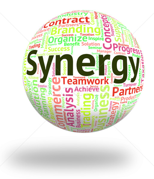 Synergy Word Indicates Work Together And Collaboration Stock photo © stuartmiles