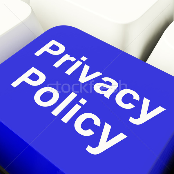 Privacy Policy Computer Key In Blue Showing Company Data Protect Stock photo © stuartmiles