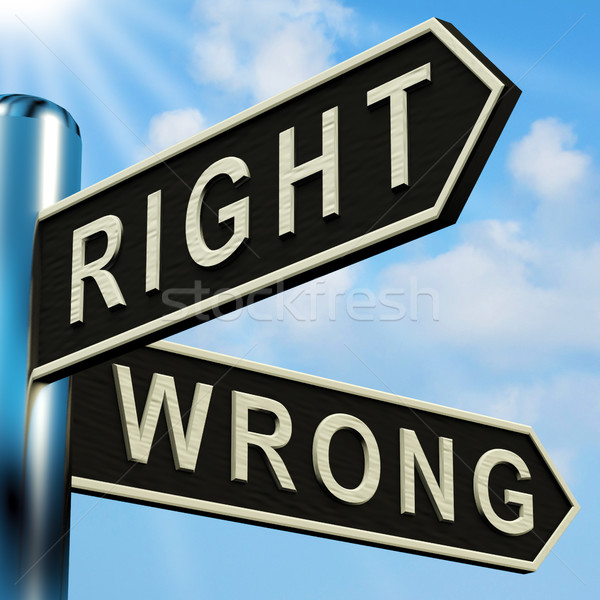 Stock photo: Right Or Wrong Directions On A Signpost