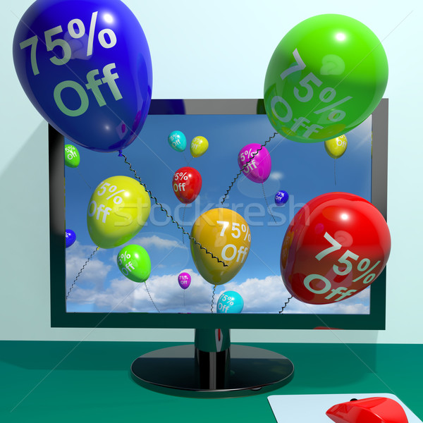 75% Off Balloons From Computer Showing Sale Discount Of Seventy  Stock photo © stuartmiles