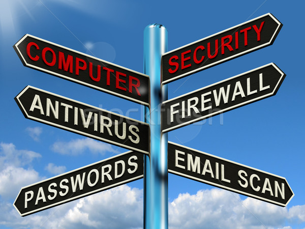 Stock photo: Computer Security Signpost Shows Laptop Internet Safety