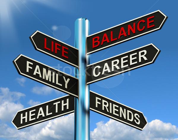 Zdjęcia stock: życia · równowagi · kierunkowskaz · rodziny · kariery · zdrowia