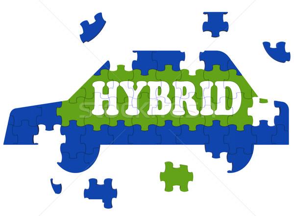 Hybrid Car Means Electric Eco-friendly Automobile Stock photo © stuartmiles