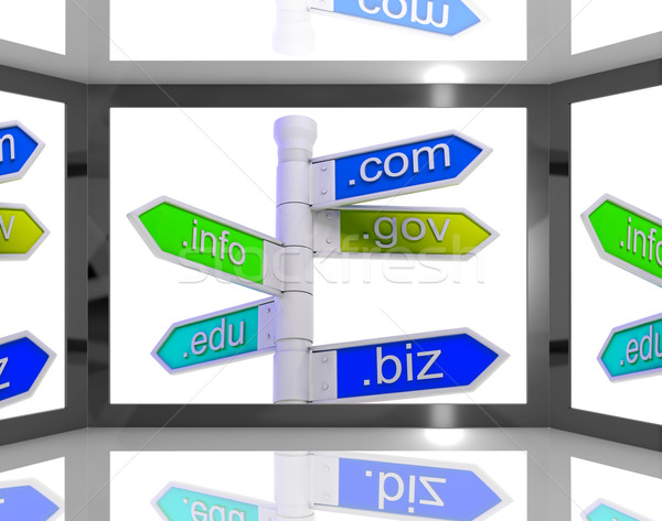 Domains On Screen Showing Internet Domains Stock photo © stuartmiles