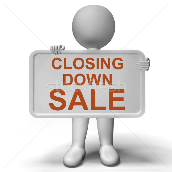 Closing Down Sale Sign Showing Store Bankrupt Stock photo © stuartmiles