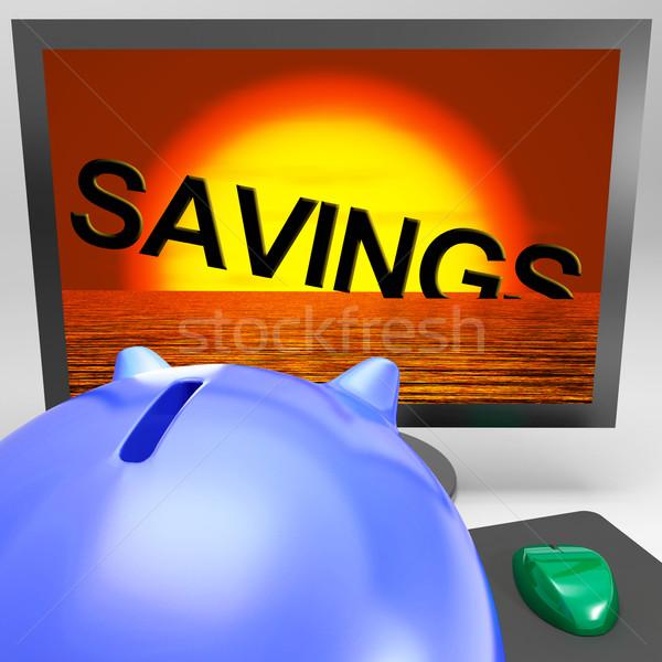 Spaargeld zinken monitor tonen monetair verlies Stockfoto © stuartmiles