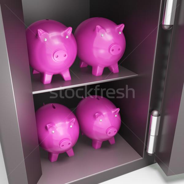 Open Safe With Piggy Showing Safe Savings Stock photo © stuartmiles