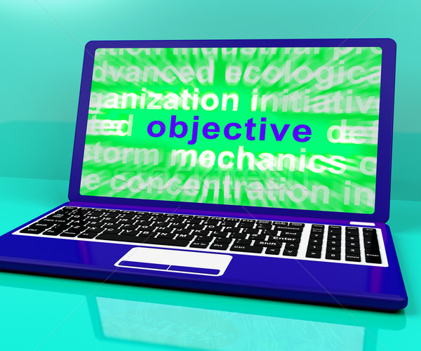 Objective Laptop Shows Objectives Hope And Future Aims Stock photo © stuartmiles