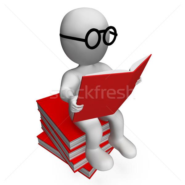 Student lezing boeken tonen school college Stockfoto © stuartmiles