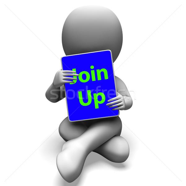 Omhoog tablet karakter abonnement lidmaatschap tonen Stockfoto © stuartmiles