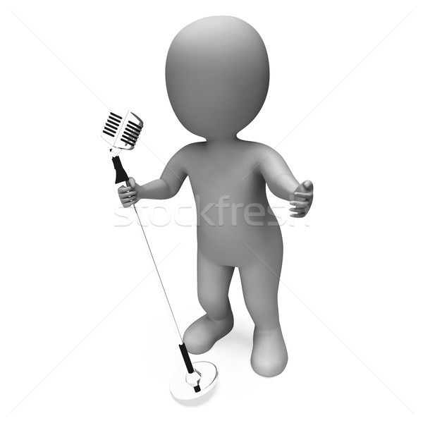 Singer Mic Shows Music Song Or Karaoke Microphone Concert Stock photo © stuartmiles