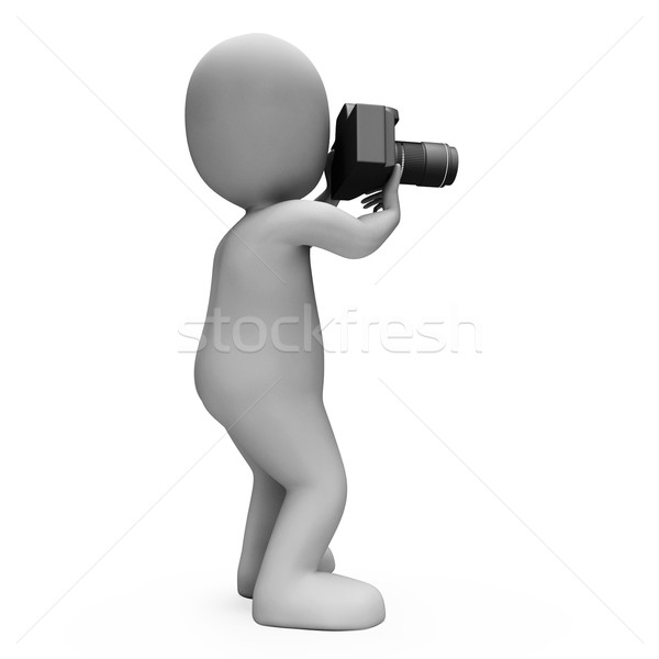 Digital Photo Character Shows Snapshot Dslr And Photography Stock photo © stuartmiles