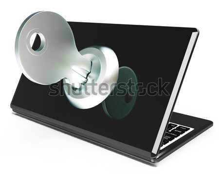 Key On Computer Shows Secured Password Or Unlocking Stock photo © stuartmiles