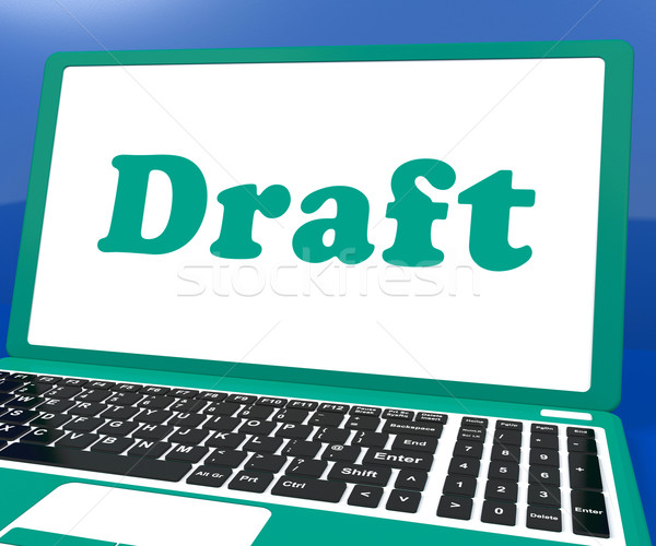 Draft Laptop Shows Outline Document Or Letter Online Stock photo © stuartmiles