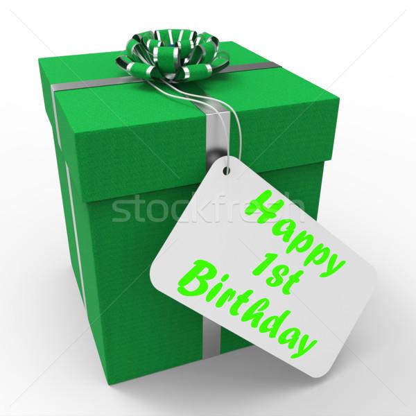 Happy 1st Birthday Gift Shows Celebrating Turning One Stock photo © stuartmiles
