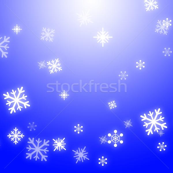 Snow Flakes Background Shows Seasonal Wallpaper Or Snow Pattern Stock photo © stuartmiles