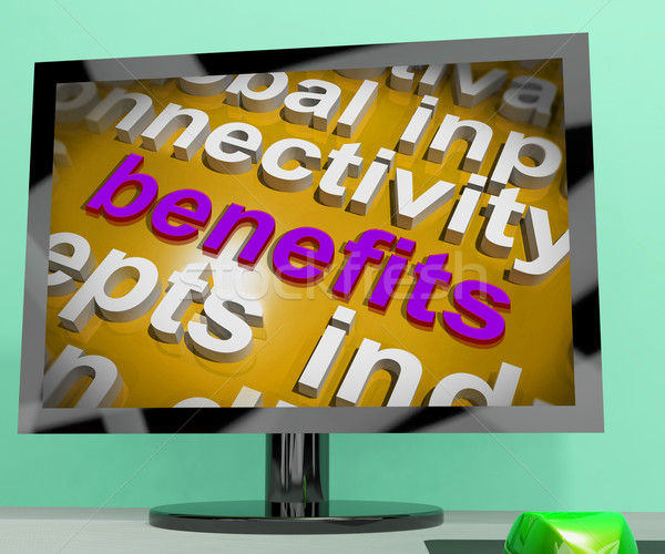 Benefits Word Cloud Screen Shows Advantage Reward Perk Stock photo © stuartmiles